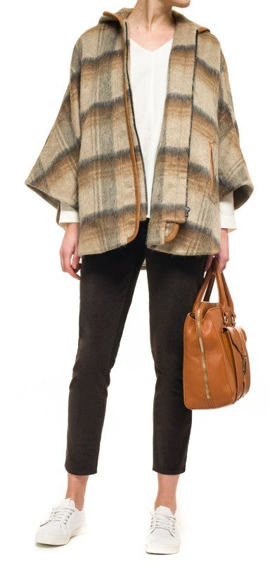 Abbey Road plaid cape in brown