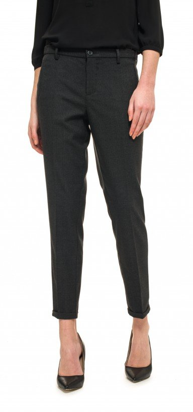 Ankle in plaid printed career stretch