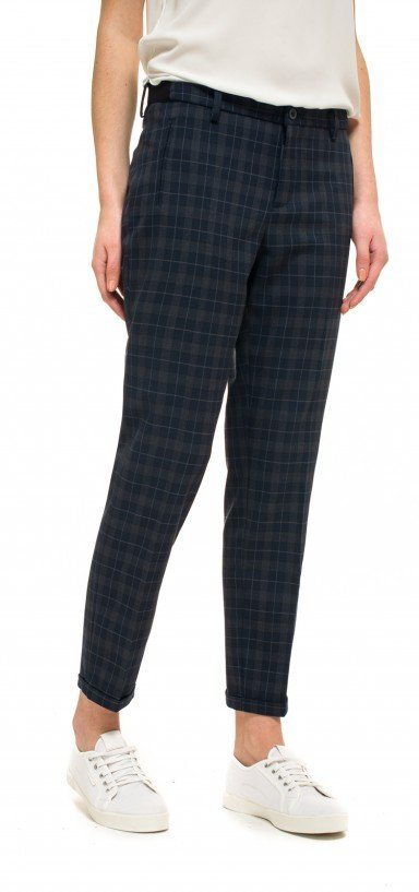 Ankle in blue plaid printed career stretch