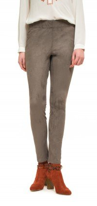 Legging pull-on in taupe suede (Plus)